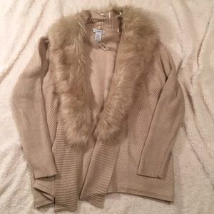 beautiful faux fur cardigan